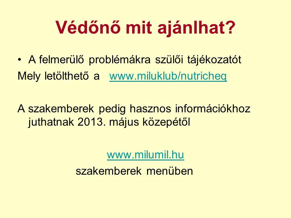 Védőnő mit ajánlhat? A felmerülő problémákra szülői tájékozatót Mely letölthető a www.miluklub/nutricheqwww.miluklub/nutricheq A szakemberek pedig has