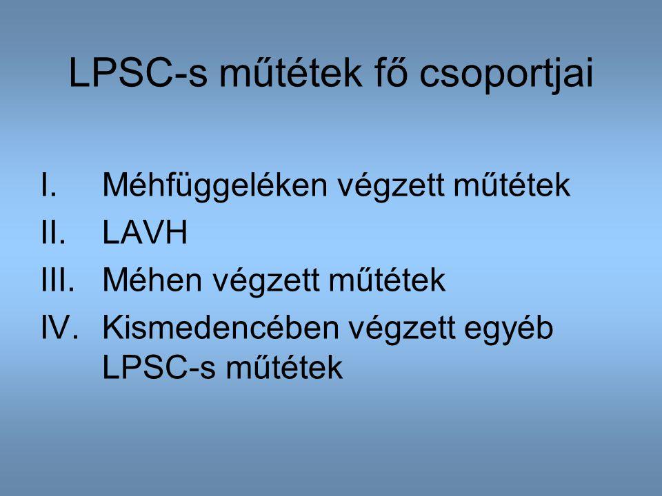 LPSC-s műtétek fő csoportjai I.Méhfüggeléken végzett műtétek II.LAVH III.Méhen végzett műtétek IV.Kismedencében végzett egyéb LPSC-s műtétek