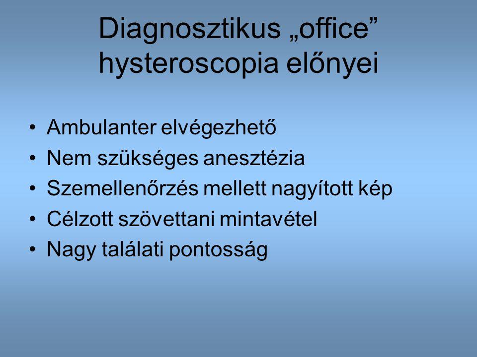 """Diagnosztikus """"office"""" hysteroscopia előnyei Ambulanter elvégezhető Nem szükséges anesztézia Szemellenőrzés mellett nagyított kép Célzott szövettani m"""