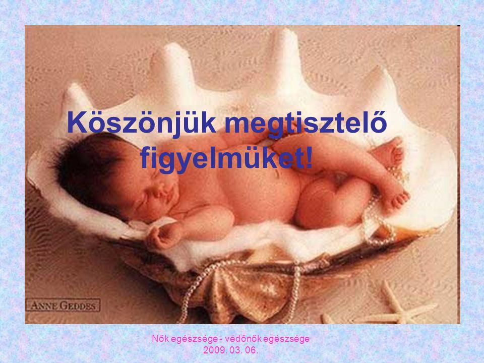 Nők egészsége - védőnők egészsége 2009. 03. 06. Köszönjük megtisztelő figyelmüket!