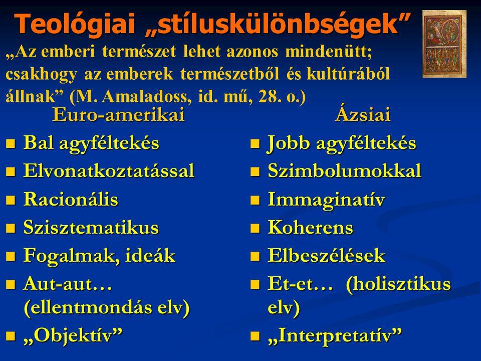 """Euro-amerikai Bal agyféltekés Bal agyféltekés Elvonatkoztatással Elvonatkoztatással Racionális Racionális Szisztematikus Szisztematikus Fogalmak, ideák Fogalmak, ideák Aut-aut… (ellentmondás elv) Aut-aut… (ellentmondás elv) """"Objektív """"Objektív Ázsiai Jobb agyféltekés Jobb agyféltekés Szimbolumokkal Szimbolumokkal Immaginatív Immaginatív Koherens Koherens Elbeszélések Elbeszélések Et-et… (holisztikus elv) Et-et… (holisztikus elv) """"Interpretatív """"Interpretatív Teológiai """"stíluskülönbségek """"Az emberi természet lehet azonos mindenütt; csakhogy az emberek természetből és kultúrából állnak (M."""