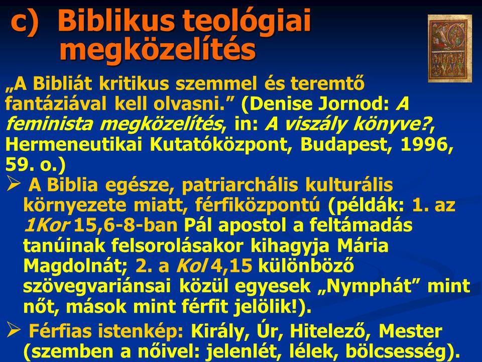 """c) Biblikus teológiai megközelítés """"A Bibliát kritikus szemmel és teremtő fantáziával kell olvasni. (Denise Jornod: A feminista megközelítés, in: A viszály könyve , Hermeneutikai Kutatóközpont, Budapest, 1996, 59."""