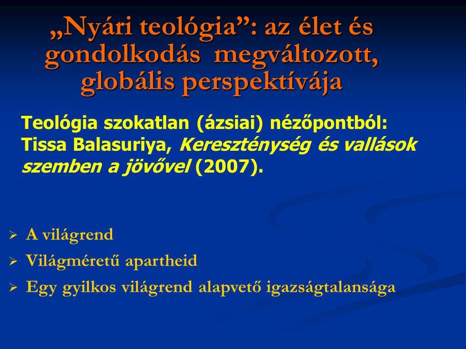 """""""Nyári teológia : az élet és gondolkodás megváltozott, globális perspektívája Teológia szokatlan (ázsiai) nézőpontból: Tissa Balasuriya, Kereszténység és vallások szemben a jövővel (2007)."""