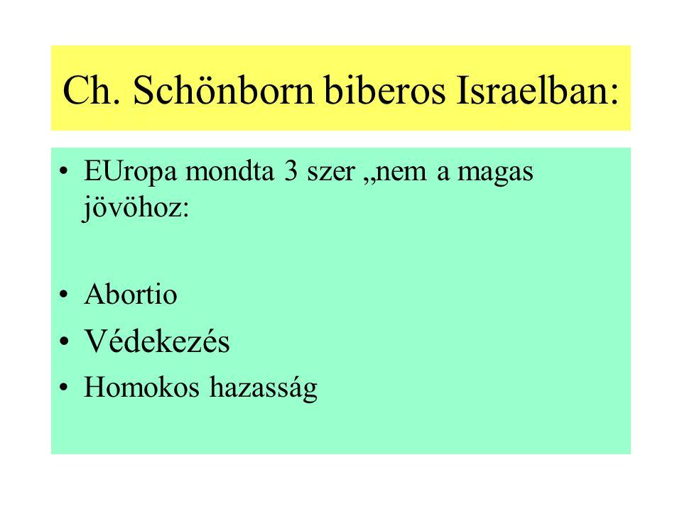 """Ch. Schönborn biberos Israelban: EUropa mondta 3 szer """"nem a magas jövöhoz: Abortio Védekezés Homokos hazasság"""