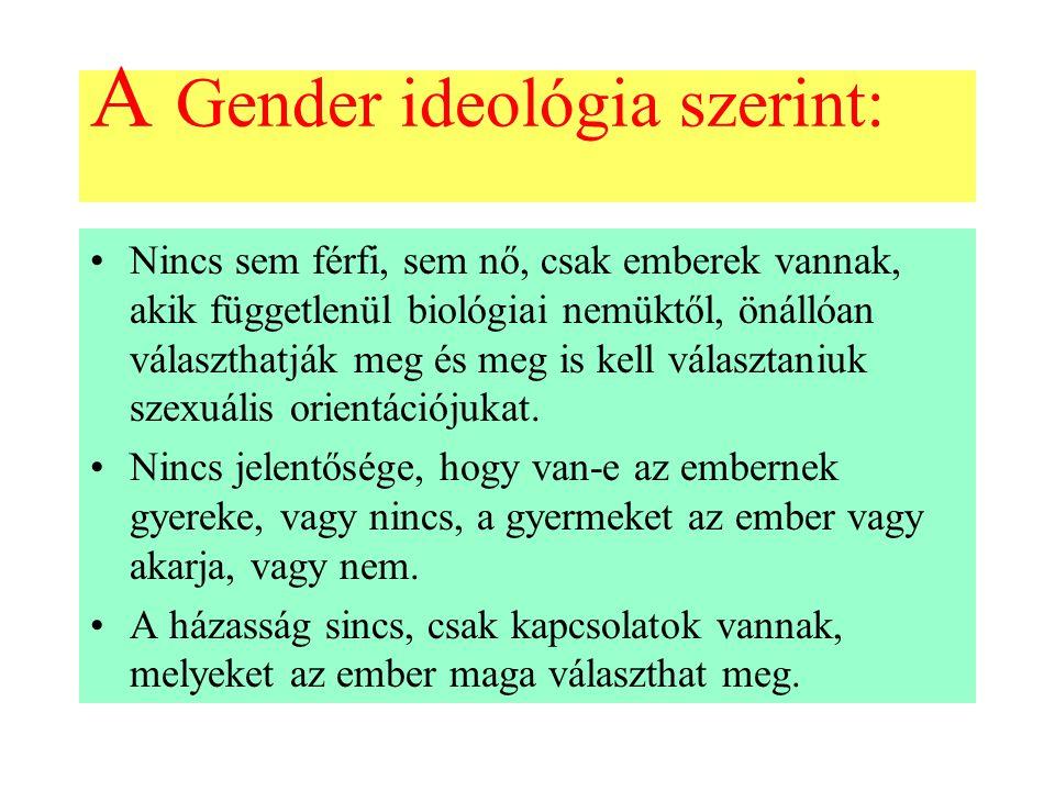 A Gender ideológia szerint: Nincs sem férfi, sem nő, csak emberek vannak, akik függetlenül biológiai nemüktől, önállóan választhatják meg és meg is kell választaniuk szexuális orientációjukat.