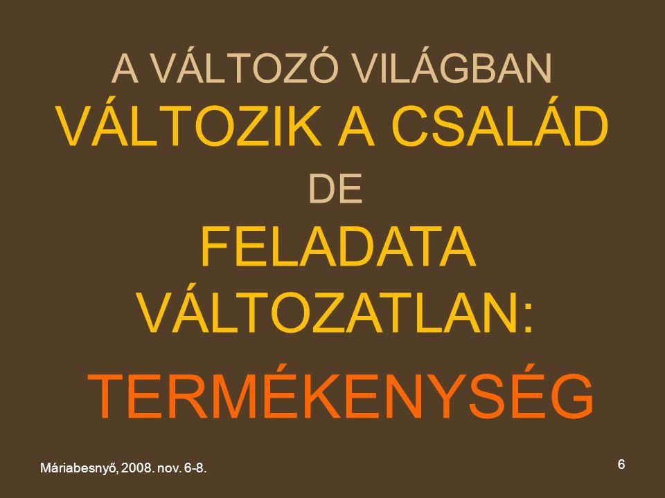 A VÁLTOZÓ VILÁGBAN VÁLTOZIK A CSALÁD Máriabesnyő, 2008. nov. 6-8. 6 DE FELADATA VÁLTOZATLAN: TERMÉKENYSÉG