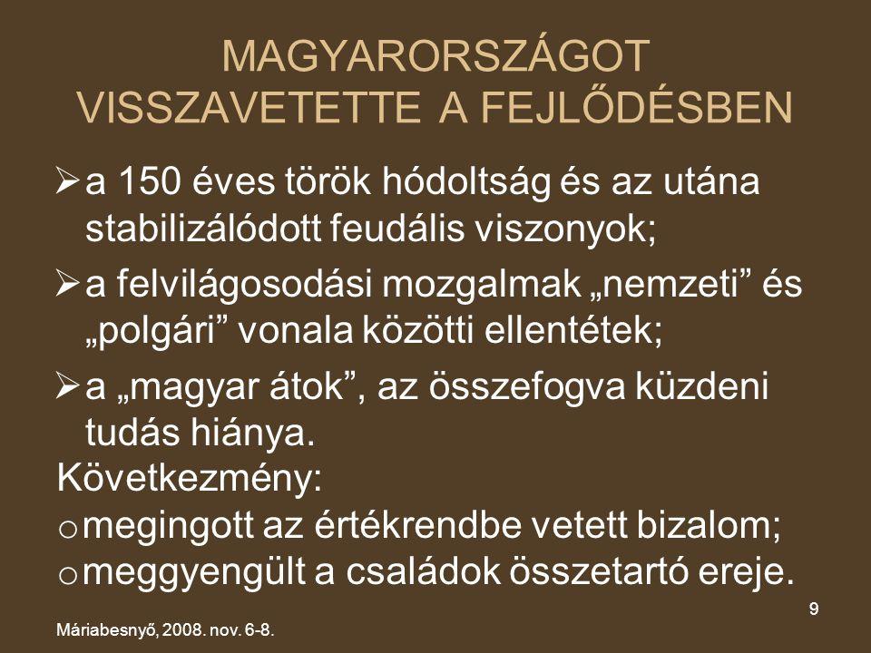 MAGYARORSZÁGOT VISSZAVETETTE A FEJLŐDÉSBEN  a 150 éves török hódoltság és az utána stabilizálódott feudális viszonyok;  a felvilágosodási mozgalmak