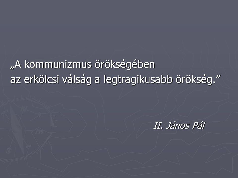 """""""A kommunizmus örökségében az erkölcsi válság a legtragikusabb örökség. II. János Pál"""