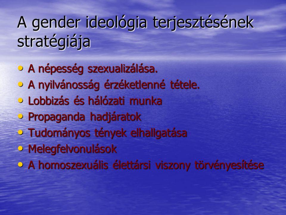 A gender ideológia terjesztésének stratégiája Törvény az antidiszkriminációról Törvény az antidiszkriminációról Gyerekek örökbefogadási jogáért vívott harc Gyerekek örökbefogadási jogáért vívott harc A tanárképzés és tanrend átalakítása A tanárképzés és tanrend átalakítása A heteroszexuálisok homofóbként való feltüntetése.