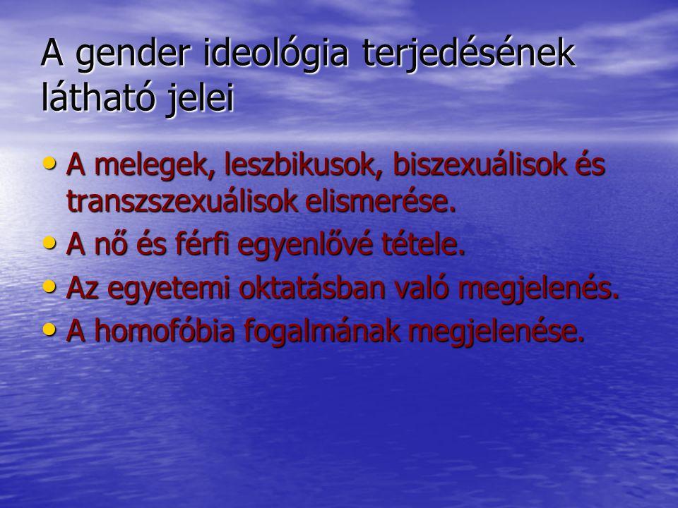 A gender ideológia terjedésének látható jelei A melegek, leszbikusok, biszexuálisok és transzszexuálisok elismerése.