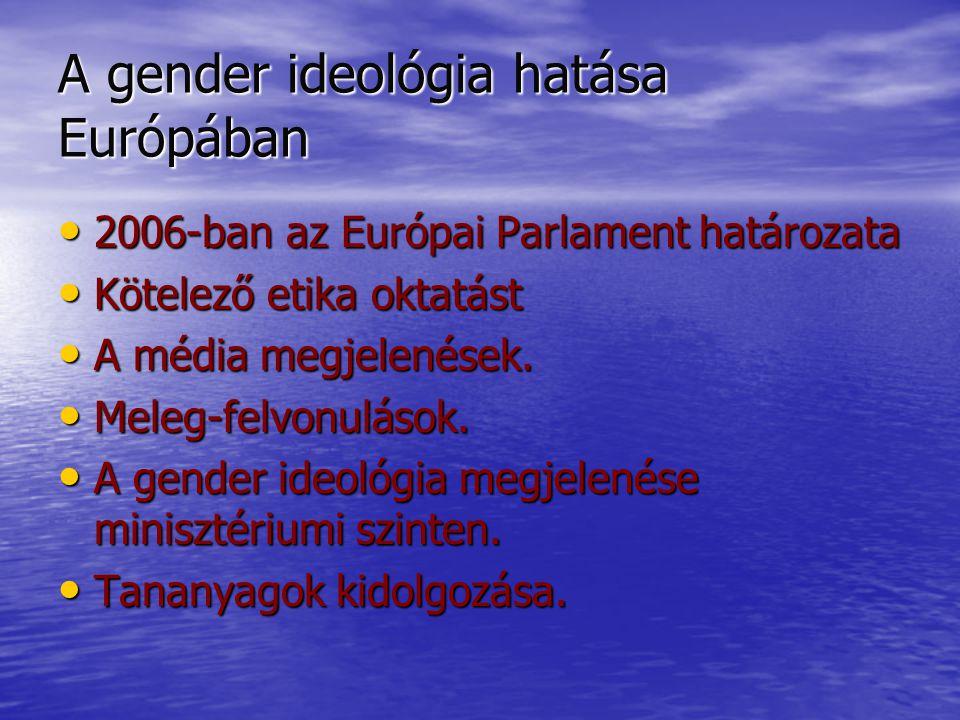 A gender ideológia hatása Európában 2006-ban az Európai Parlament határozata 2006-ban az Európai Parlament határozata Kötelező etika oktatást Kötelező etika oktatást A média megjelenések.