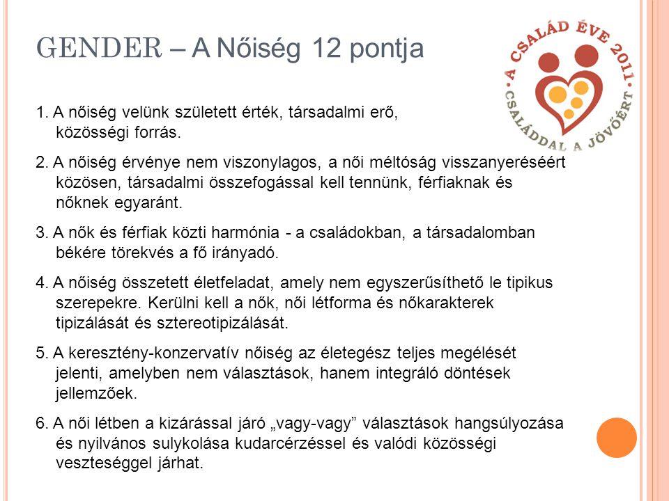 GENDER – A Nőiség 12 pontja 1.A nőiség velünk született érték, társadalmi erő, közösségi forrás.