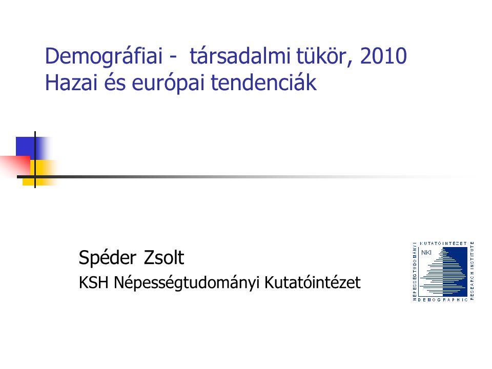 Demográfiai - társadalmi tükör, 2010 Hazai és európai tendenciák Spéder Zsolt KSH Népességtudományi Kutatóintézet