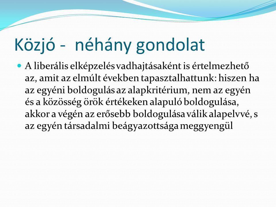 Közjó a mai Magyarországon A változó politikai környezetben ismét sokat beszélnek a köz javáról.