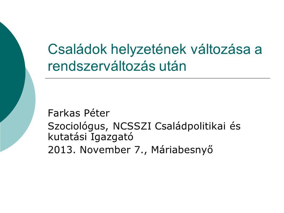 Családok helyzetének változása a rendszerváltozás után Farkas Péter Szociológus, NCSSZI Családpolitikai és kutatási Igazgató 2013. November 7., Máriab