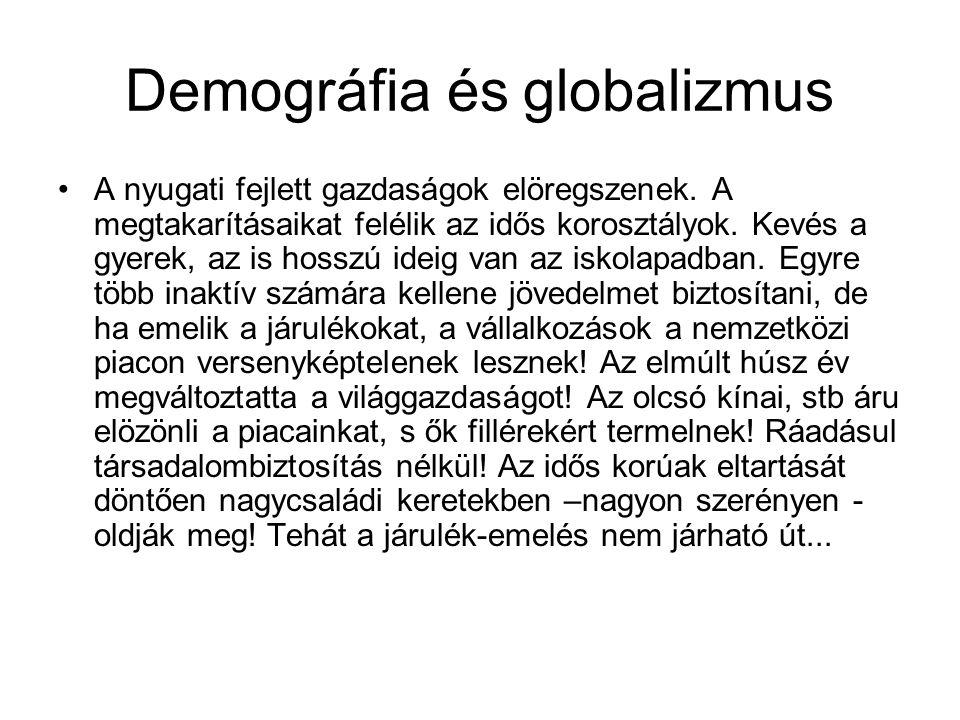 Demográfia és globalizmus A nyugati fejlett gazdaságok elöregszenek.