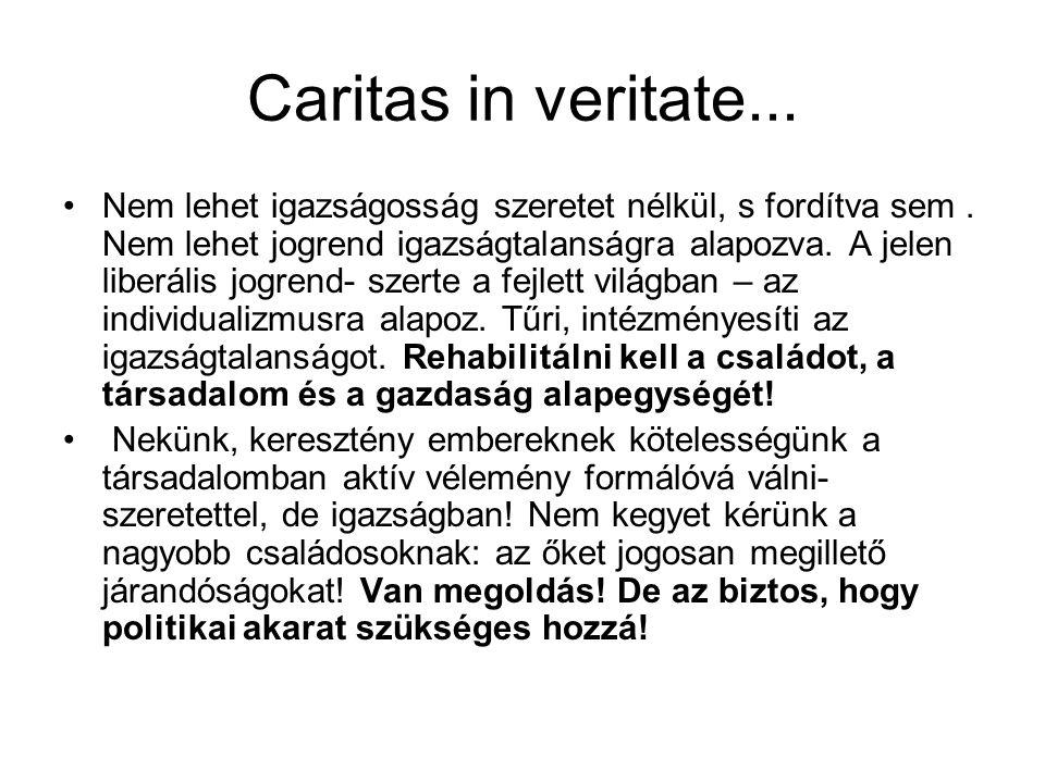 Caritas in veritate... Nem lehet igazságosság szeretet nélkül, s fordítva sem.