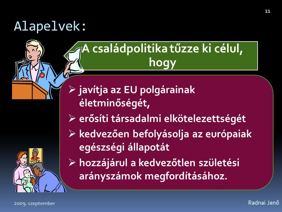 Alapelvek: Radnai Jenő 11 A családpolitika tűzze ki célul, hogy  javítja az EU polgárainak életminőségét,  erősíti társadalmi elkötelezettségét  ke