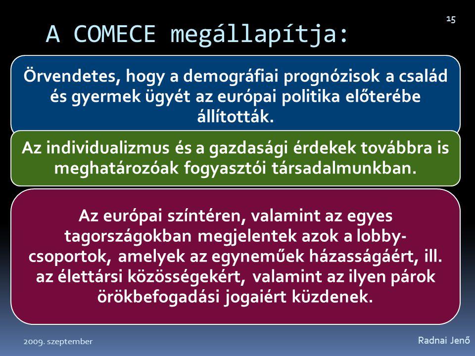A COMECE megállapítja: Örvendetes, hogy a demográfiai prognózisok a család és gyermek ügyét az európai politika előterébe állították. Az individualizm