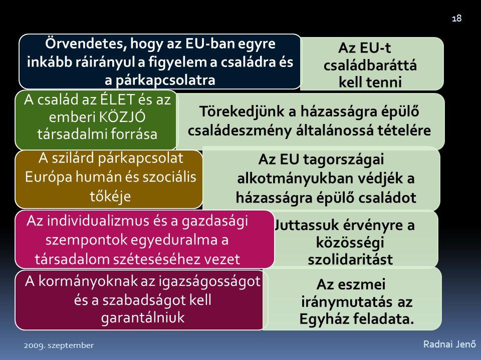 Radnai Jenő 18 Örvendetes, hogy az EU-ban egyre inkább ráirányul a figyelem a családra és a párkapcsolatra Az EU-t családbaráttá kell tenni A család a