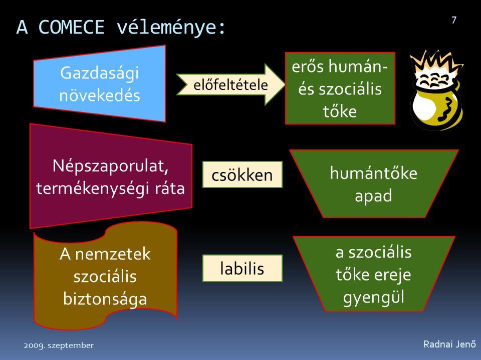A COMECE véleménye: Radnai Jenő 8 Az EU Lisszaboni célkitűzései viszont az egyénekre koncentrálnak, nem a közösségekre, nem a családra.