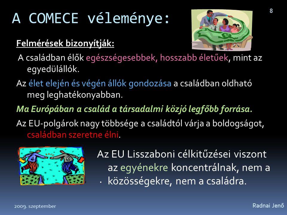 A COMECE véleménye: Radnai Jenő 8 Az EU Lisszaboni célkitűzései viszont az egyénekre koncentrálnak, nem a közösségekre, nem a családra. Felmérések biz