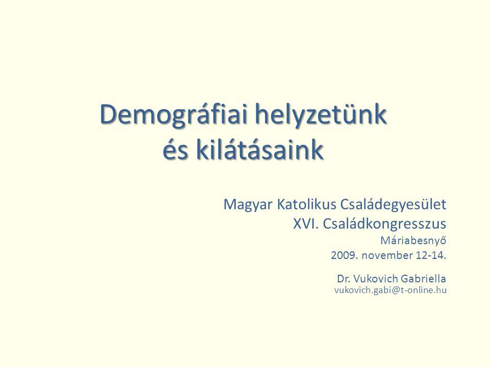 Demográfiai helyzetünk és kilátásaink Magyar Katolikus Családegyesület XVI.
