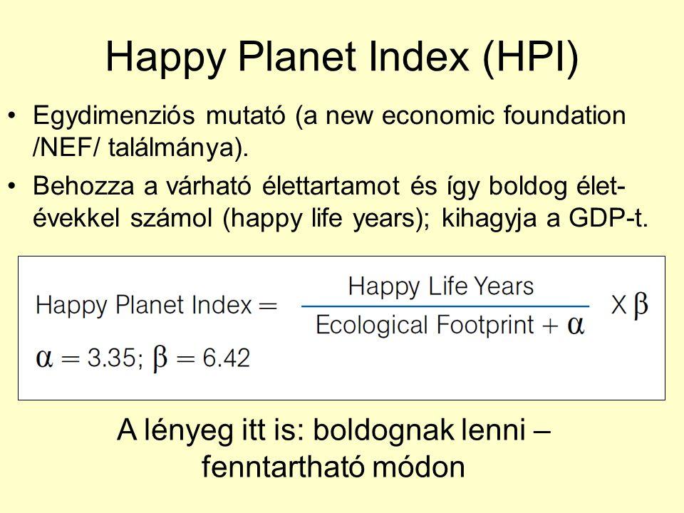 Happy Planet Index (HPI) Egydimenziós mutató (a new economic foundation /NEF/ találmánya). Behozza a várható élettartamot és így boldog élet- évekkel