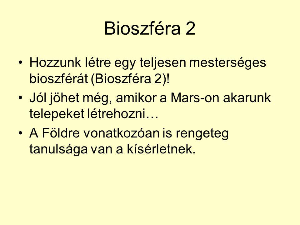 Bioszféra 2 Hozzunk létre egy teljesen mesterséges bioszférát (Bioszféra 2)! Jól jöhet még, amikor a Mars-on akarunk telepeket létrehozni… A Földre vo