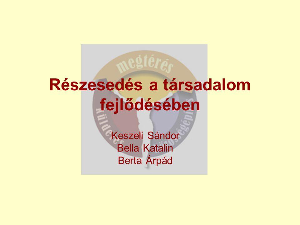 Részesedés a társadalom fejlődésében Keszeli Sándor Bella Katalin Berta Árpád