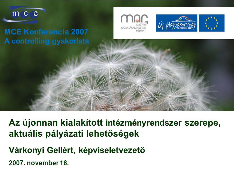Az újonnan kialakított intézményrendszer szerepe, aktuális pályázati lehetőségek Várkonyi Gellért, képviseletvezető 2007.