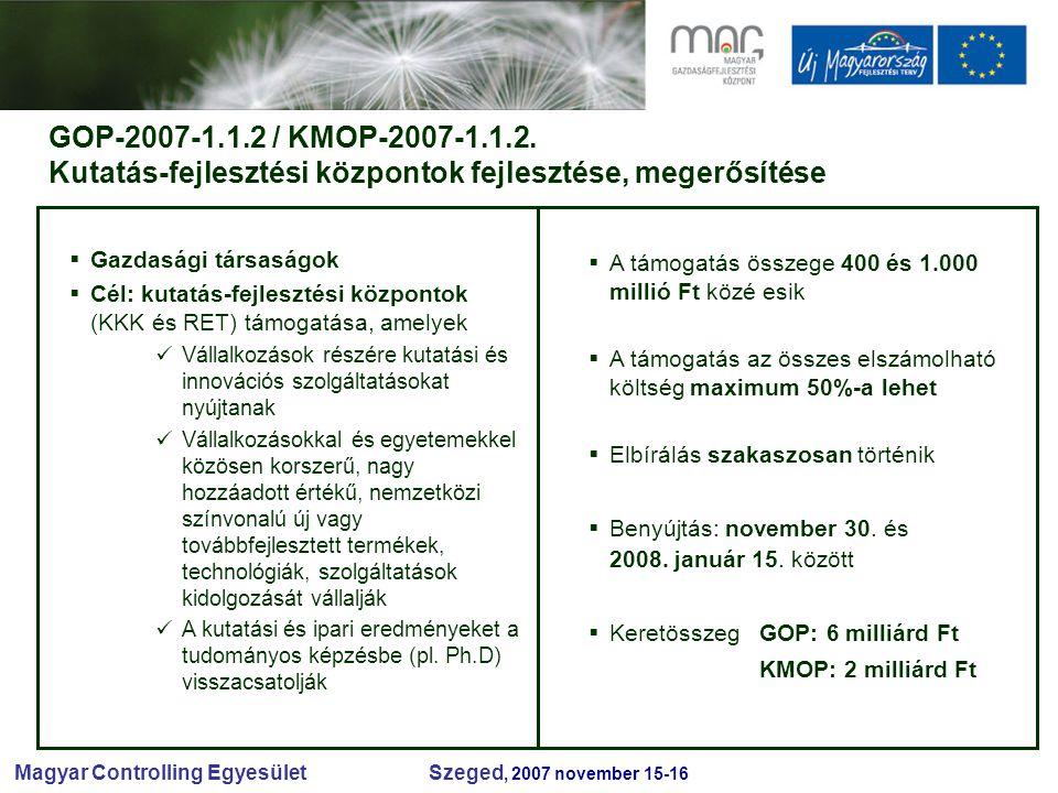 Magyar Controlling Egyesület Szeged, 2007 november 15-16 GOP-2007-1.1.2 / KMOP-2007-1.1.2.