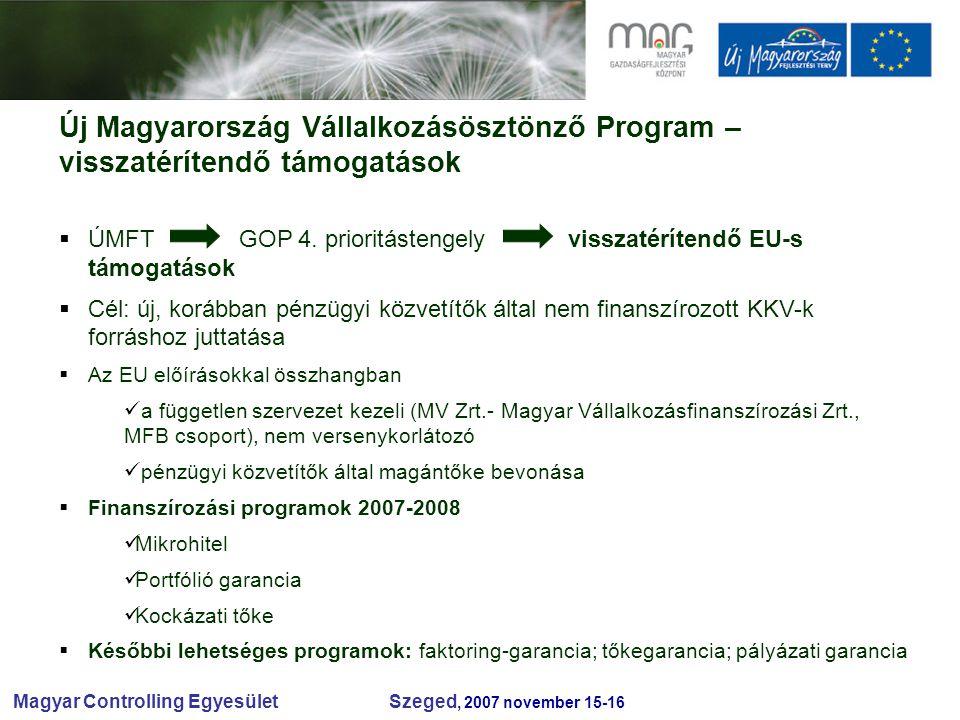 Magyar Controlling Egyesület Szeged, 2007 november 15-16 Új Magyarország Vállalkozásösztönző Program – visszatérítendő támogatások  ÚMFT GOP 4.