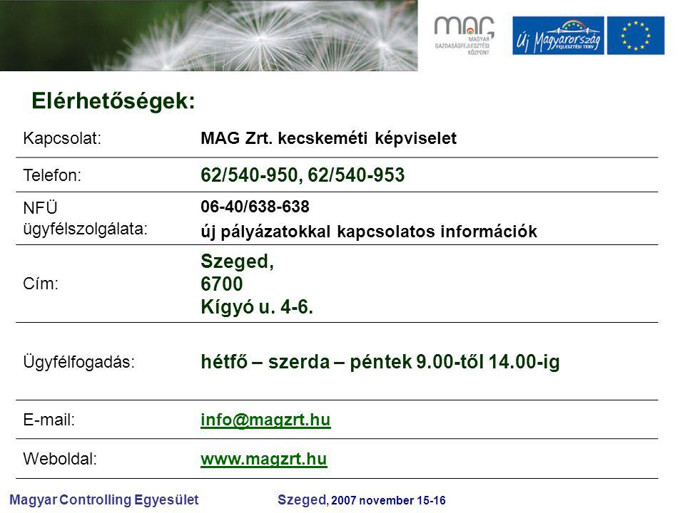 Magyar Controlling Egyesület Szeged, 2007 november 15-16 Elérhetőségek: Kapcsolat:MAG Zrt.