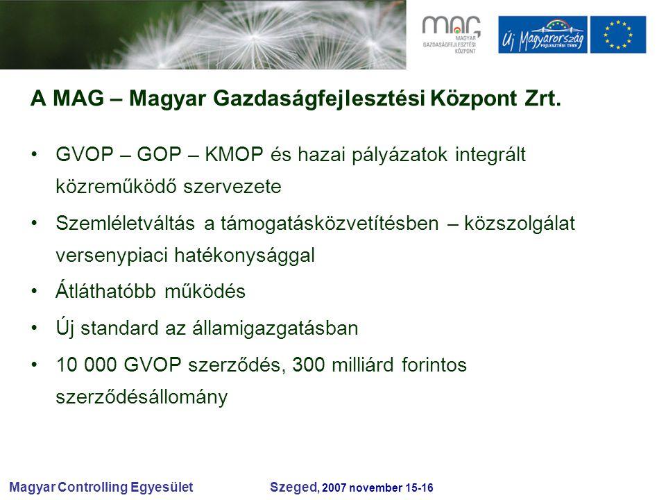Magyar Controlling Egyesület Szeged, 2007 november 15-16 A MAG – Magyar Gazdaságfejlesztési Központ Zrt.