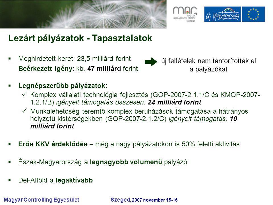 Magyar Controlling Egyesület Szeged, 2007 november 15-16  Meghirdetett keret: 23,5 milliárd forint Beérkezett igény: kb.