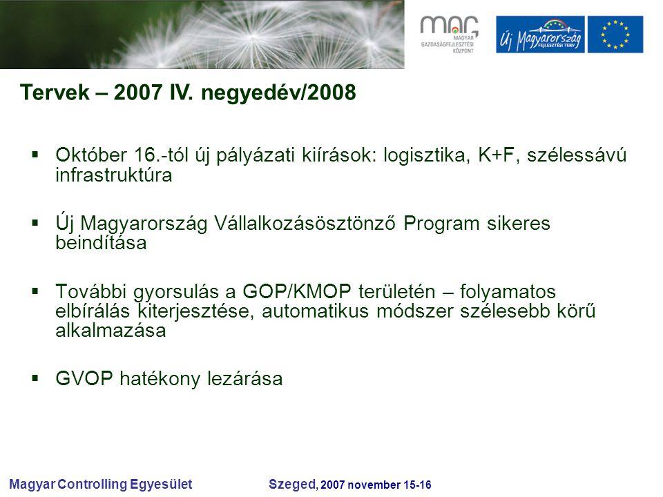 Magyar Controlling Egyesület Szeged, 2007 november 15-16 Tervek – 2007 IV.