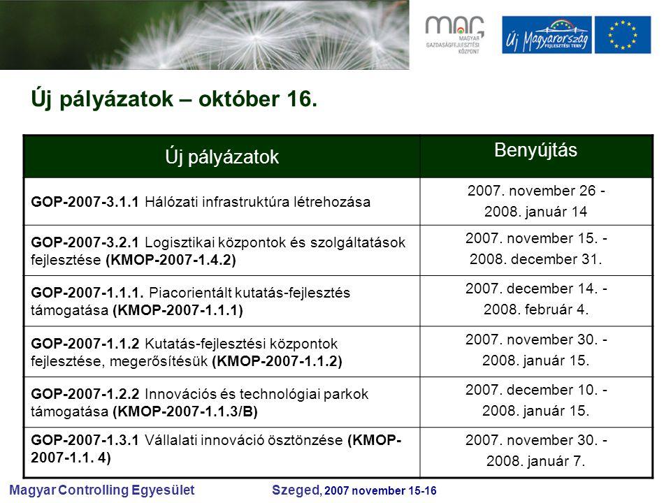 Magyar Controlling Egyesület Szeged, 2007 november 15-16 Új pályázatok – október 16.