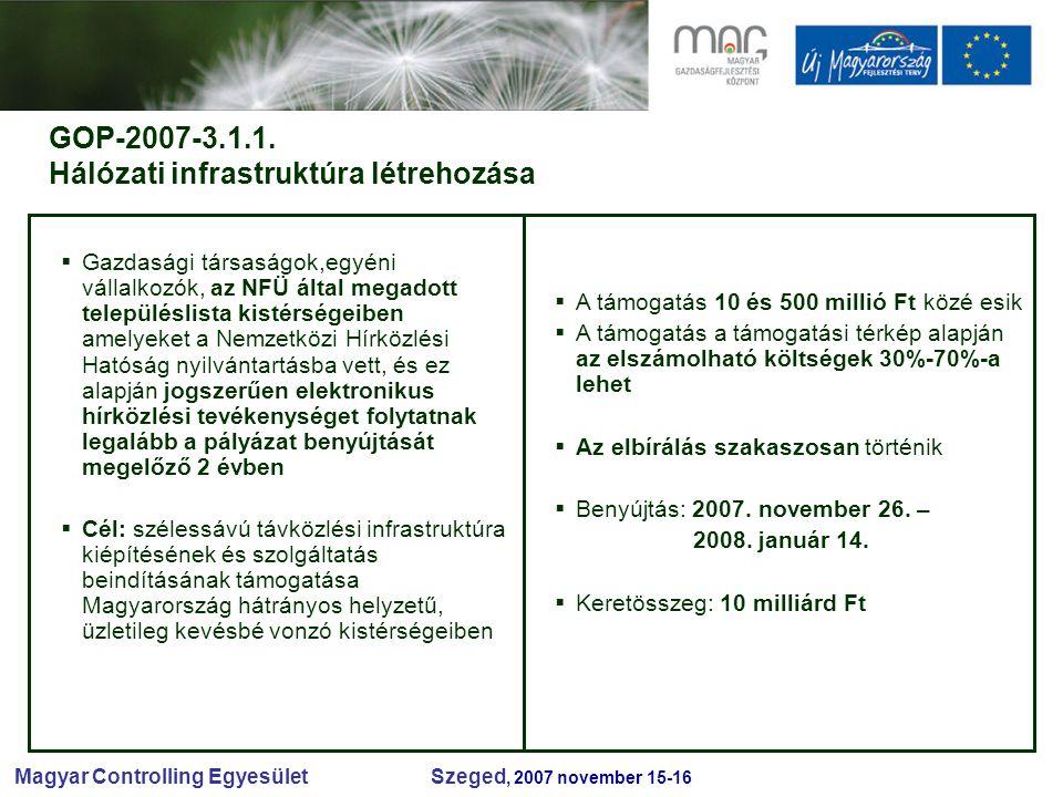 Magyar Controlling Egyesület Szeged, 2007 november 15-16 GOP-2007-3.1.1.