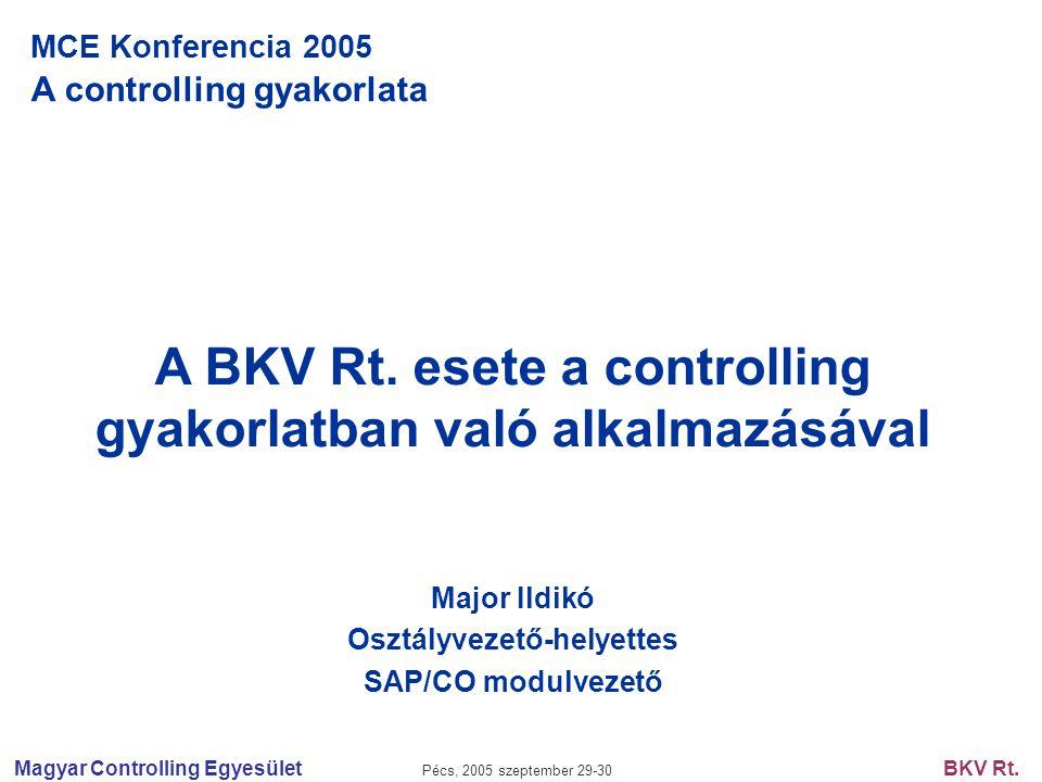 Magyar Controlling Egyesület Pécs, 2005 szeptember 29-30 BKV Rt. MCE Konferencia 2005 A controlling gyakorlata A BKV Rt. esete a controlling gyakorlat