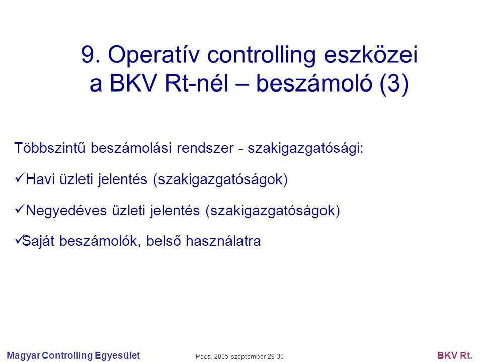 Magyar Controlling Egyesület Pécs, 2005 szeptember 29-30 BKV Rt. 9. Operatív controlling eszközei a BKV Rt-nél – beszámoló (3) Többszintű beszámolási