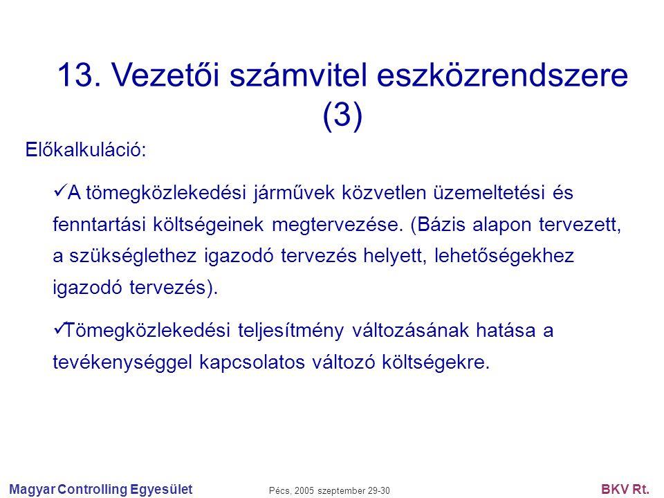Magyar Controlling Egyesület Pécs, 2005 szeptember 29-30 BKV Rt. 13. Vezetői számvitel eszközrendszere (3) Előkalkuláció: A tömegközlekedési járművek