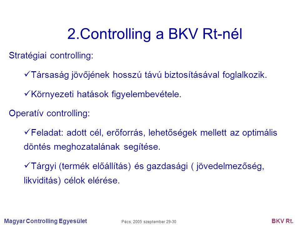 Magyar Controlling Egyesület Pécs, 2005 szeptember 29-30 BKV Rt. 2.Controlling a BKV Rt-nél Stratégiai controlling: Társaság jövőjének hosszú távú biz