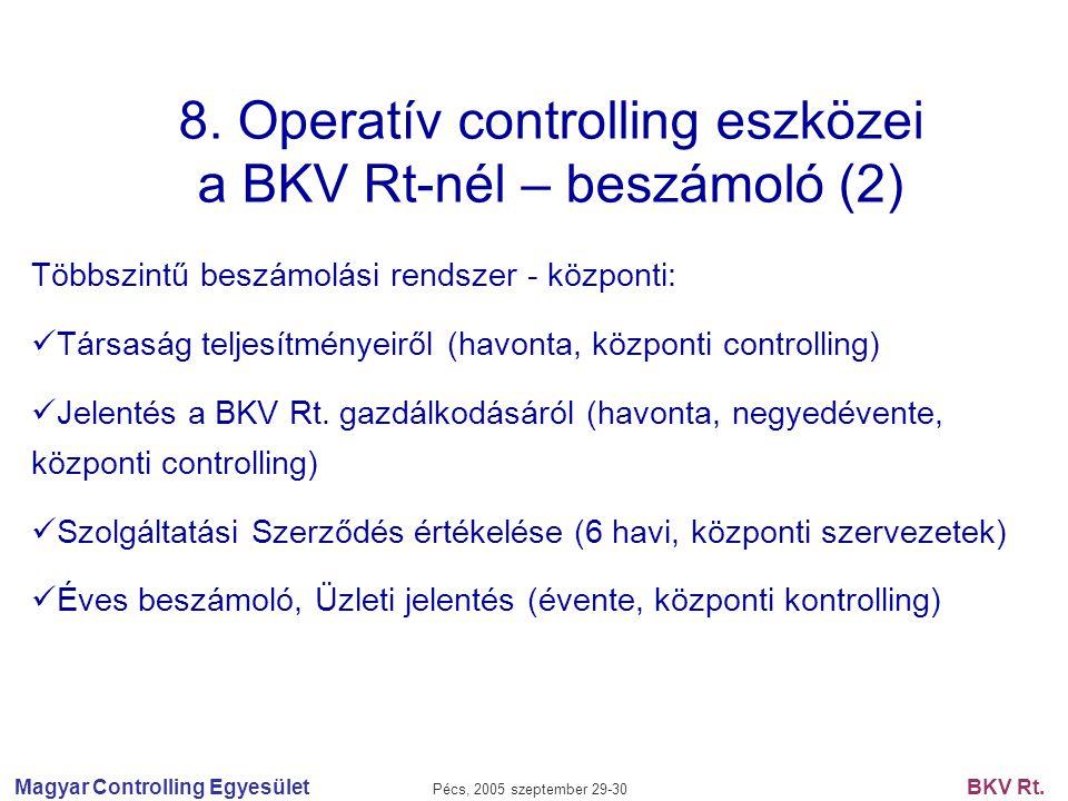 Magyar Controlling Egyesület Pécs, 2005 szeptember 29-30 BKV Rt. 8. Operatív controlling eszközei a BKV Rt-nél – beszámoló (2) Többszintű beszámolási