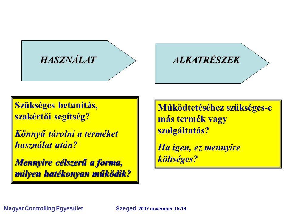 Magyar Controlling Egyesület Szeged, 2007 november 15-16 HASZNÁLATALKATRÉSZEK Szükséges betanítás, szakértői segítség? Könnyű tárolni a terméket haszn