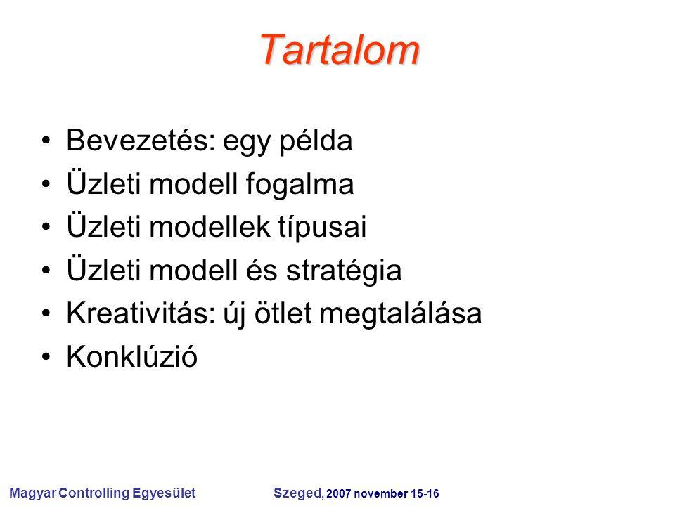 Magyar Controlling Egyesület Szeged, 2007 november 15-16 Tartalom Bevezetés: egy példa Üzleti modell fogalma Üzleti modellek típusai Üzleti modell és stratégia Kreativitás: új ötlet megtalálása Konklúzió