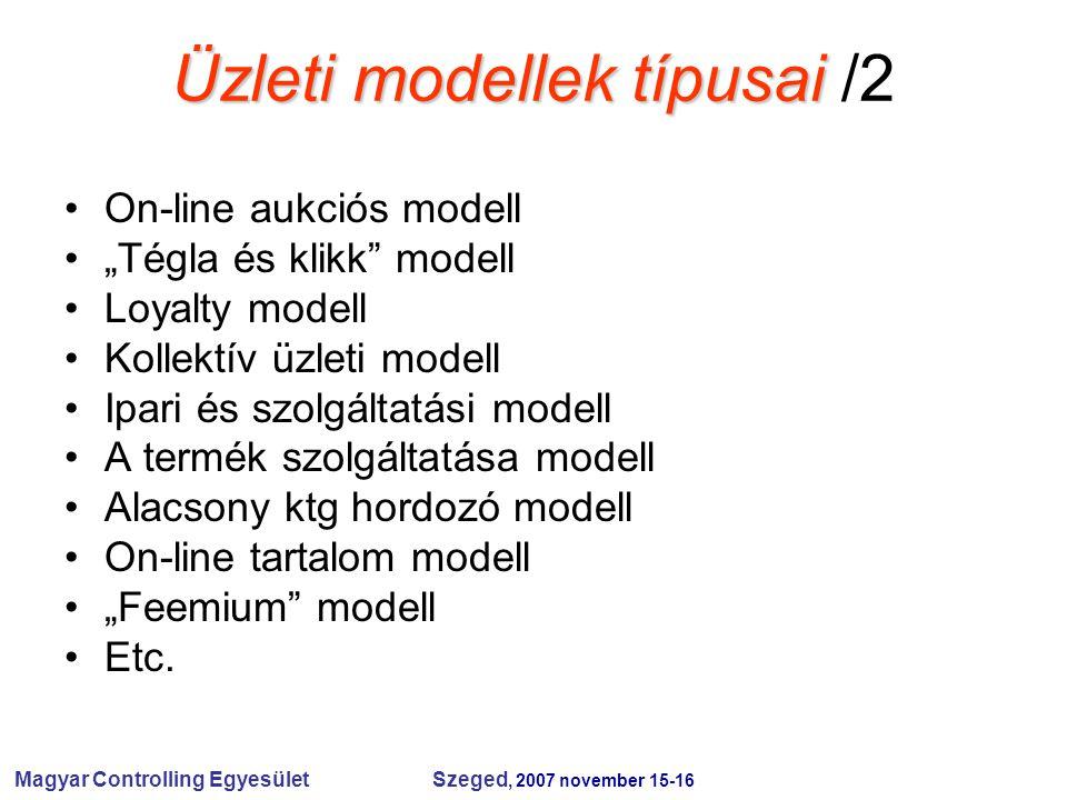"""Magyar Controlling Egyesület Szeged, 2007 november 15-16 Üzleti modellek típusai Üzleti modellek típusai /2 On-line aukciós modell """"Tégla és klikk modell Loyalty modell Kollektív üzleti modell Ipari és szolgáltatási modell A termék szolgáltatása modell Alacsony ktg hordozó modell On-line tartalom modell """"Feemium modell Etc."""