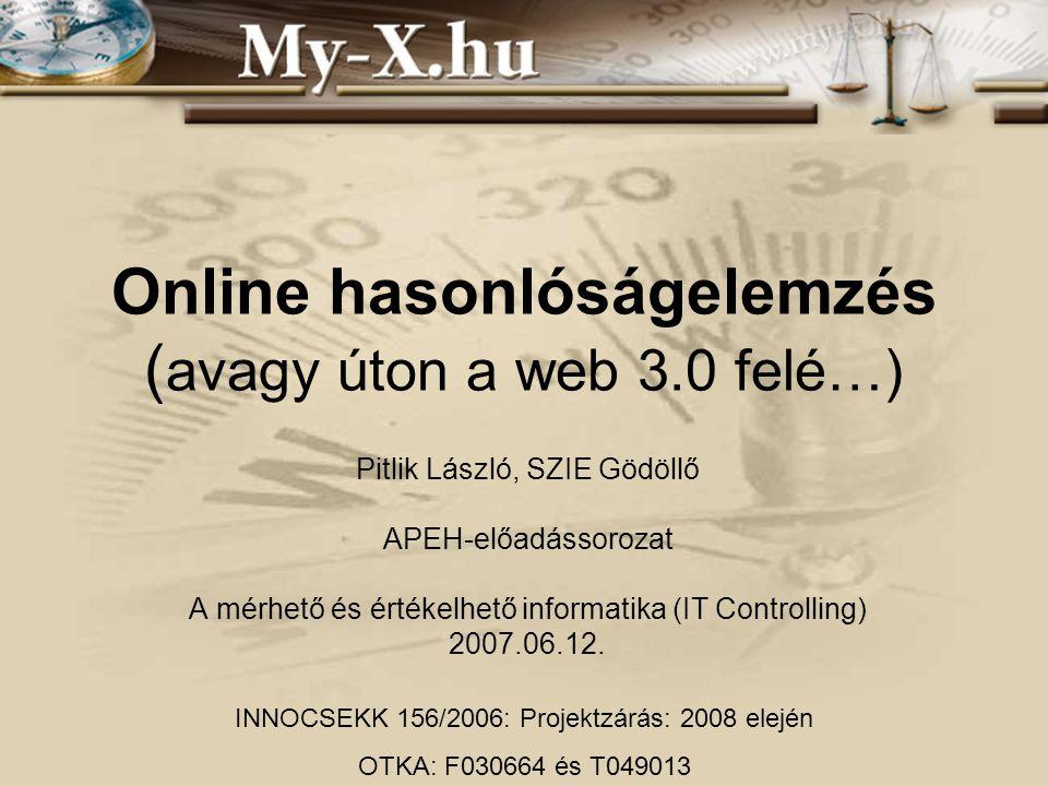 Online hasonlóságelemzés ( avagy úton a web 3.0 felé…) Pitlik László, SZIE Gödöllő APEH-előadássorozat A mérhető és értékelhető informatika (IT Contro