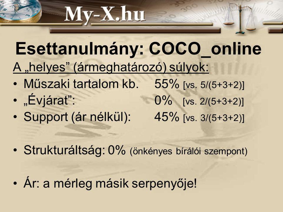 """INNOCSEKK 156/2006 Esettanulmány: COCO_online A """"helyes"""" (ármeghatározó) súlyok: Műszaki tartalom kb.55% [vs. 5/(5+3+2)] """"Évjárat"""": 0% [vs. 2/(5+3+2)]"""