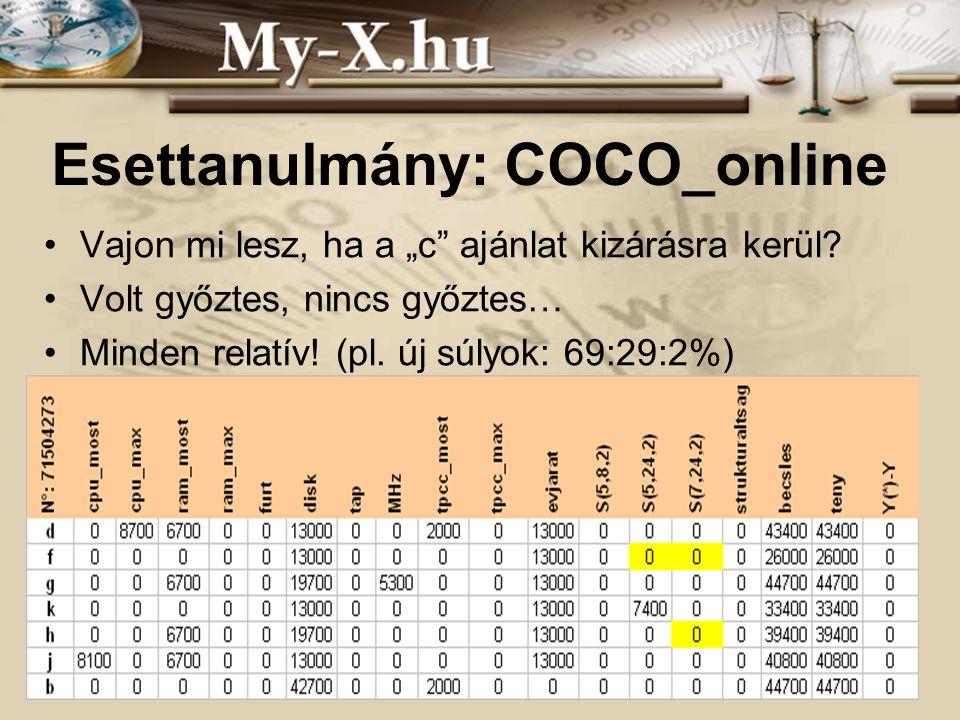 """INNOCSEKK 156/2006 Esettanulmány: COCO_online Vajon mi lesz, ha a """"c"""" ajánlat kizárásra kerül? Volt győztes, nincs győztes… Minden relatív! (pl. új sú"""